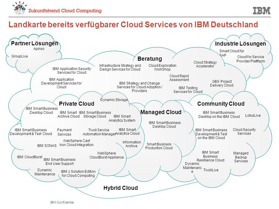 © 2011 IBM CorporationIBM Confidential Community Cloud Industrie Lösungen Beratung Managed Cloud Private Cloud Partner Lösungen Hybrid Cloud Industrie