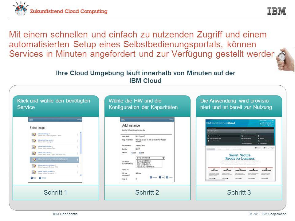 © 2011 IBM CorporationIBM Confidential Mit einem schnellen und einfach zu nutzenden Zugriff und einem automatisierten Setup eines Selbstbedienungsportals, können Services in Minuten angefordert und zur Verfügung gestellt werden.