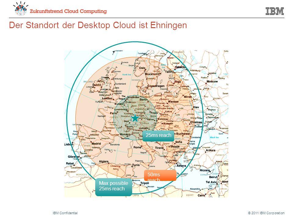 © 2011 IBM CorporationIBM Confidential Der Standort der Desktop Cloud ist Ehningen 50ms reach 25ms reach Max possible 25ms reach