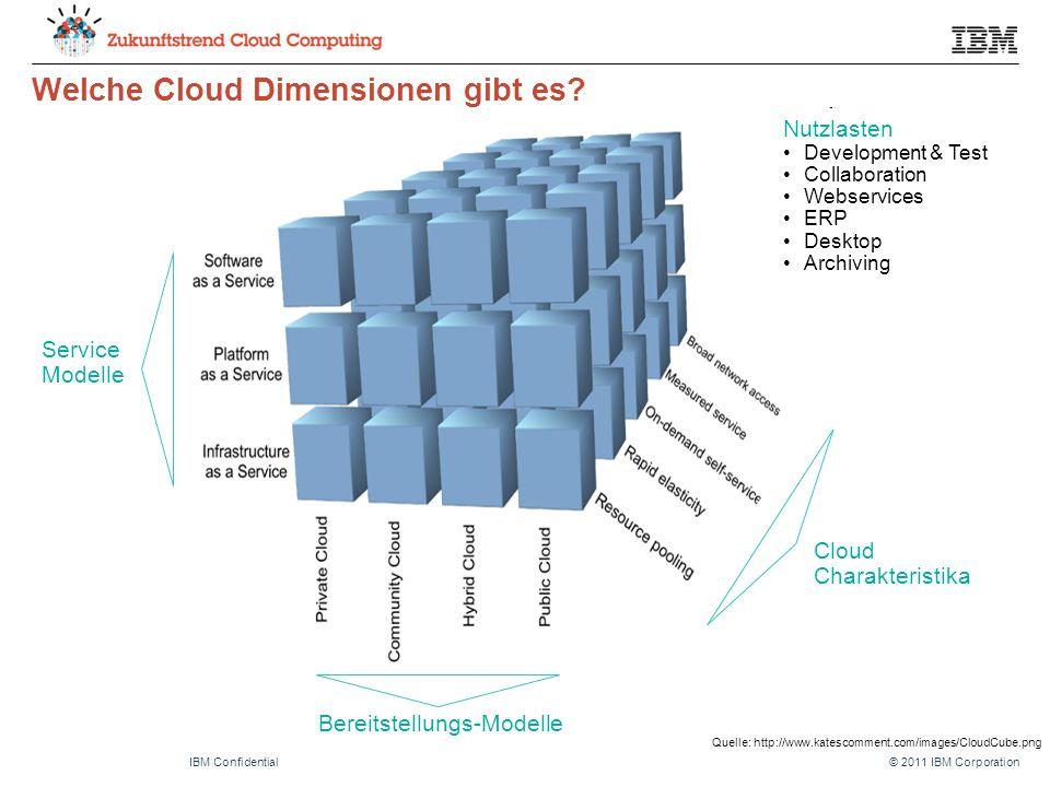 © 2011 IBM CorporationIBM Confidential Welche Cloud Dimensionen gibt es? Quelle: http://www.katescomment.com/images/CloudCube.png Service Modelle Bere