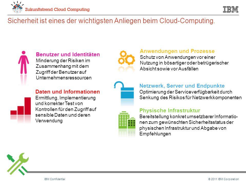 © 2011 IBM CorporationIBM Confidential Sicherheit ist eines der wichtigsten Anliegen beim Cloud-Computing.