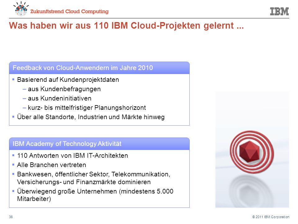 © 2011 IBM Corporation36 Was haben wir aus 110 IBM Cloud-Projekten gelernt...