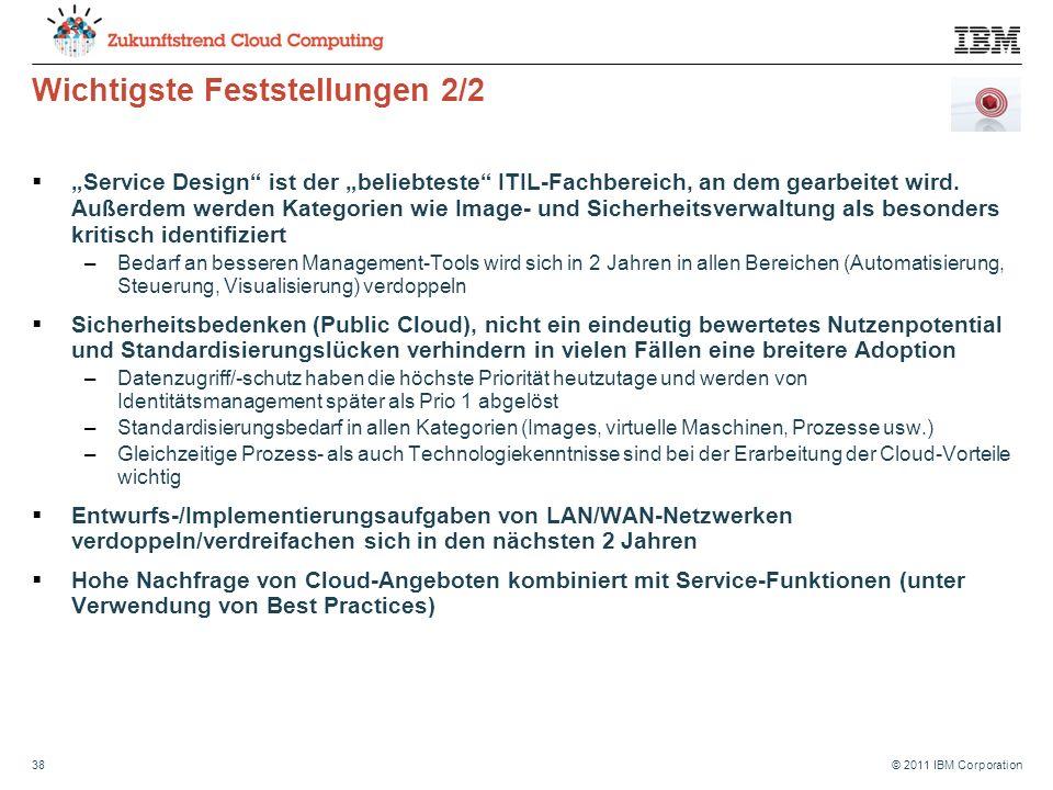 """© 2011 IBM Corporation38 Wichtigste Feststellungen 2/2  """"Service Design ist der """"beliebteste ITIL-Fachbereich, an dem gearbeitet wird."""