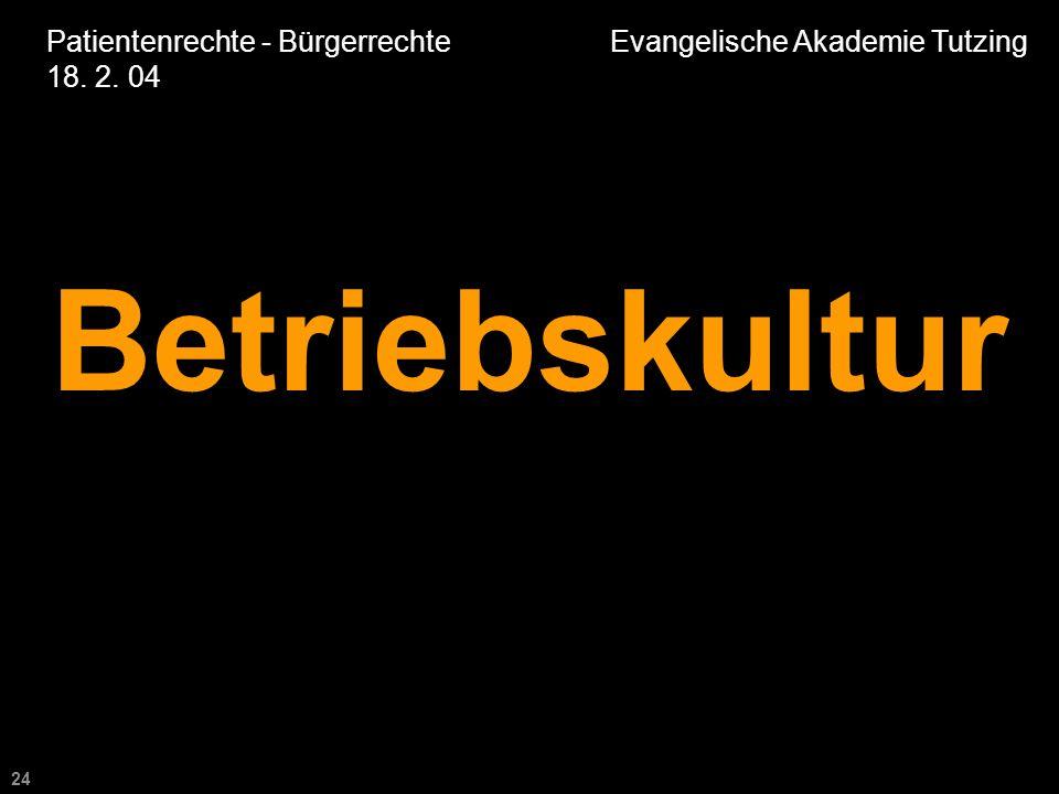 24 Patientenrechte - Bürgerrechte Evangelische Akademie Tutzing 18. 2. 04 Betriebskultur