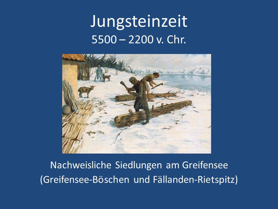 Jungsteinzeit 5500 – 2200 v. Chr. Nachweisliche Siedlungen am Greifensee (Greifensee-Böschen und Fällanden-Rietspitz)