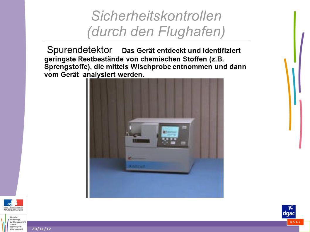 19 19 30/11/12 Sicherheitskontrollen (durch den Flughafen) Spurendetektor Das Gerät entdeckt und identifiziert geringste Restbestände von chemischen Stoffen (z.B.