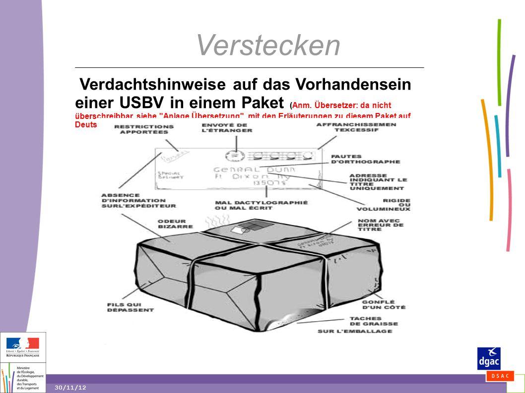 35 35 30/11/12 Verstecken Verdachtshinweise auf das Vorhandensein einer USBV in einem Paket (Anm.