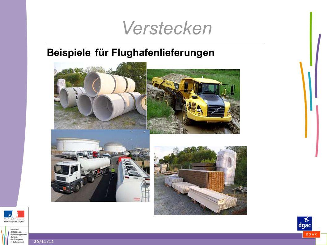 38 38 30/11/12 Verstecken Beispiele für Flughafenlieferungen