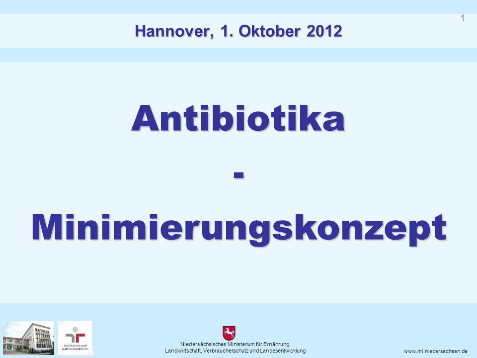Niedersächsisches Ministerium für Ernährung, Landwirtschaft, Verbraucherschutz und Landesentwicklung www.ml.niedersachsen.de Antibiotika-Minimierungskonzept Hannover, 1.