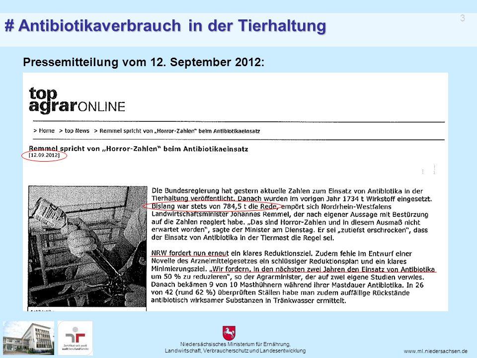 Niedersächsisches Ministerium für Ernährung, Landwirtschaft, Verbraucherschutz und Landesentwicklung www.ml.niedersachsen.de Pressemitteilung Nr.