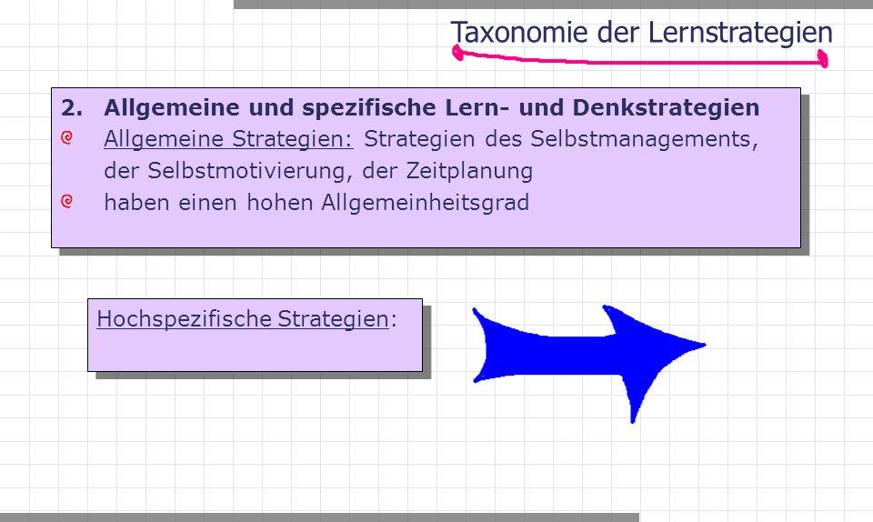 2. Allgemeine und spezifische Lern- und Denkstrategien Allgemeine Strategien: Strategien des Selbstmanagements, der Selbstmotivierung, der Zeitplanung