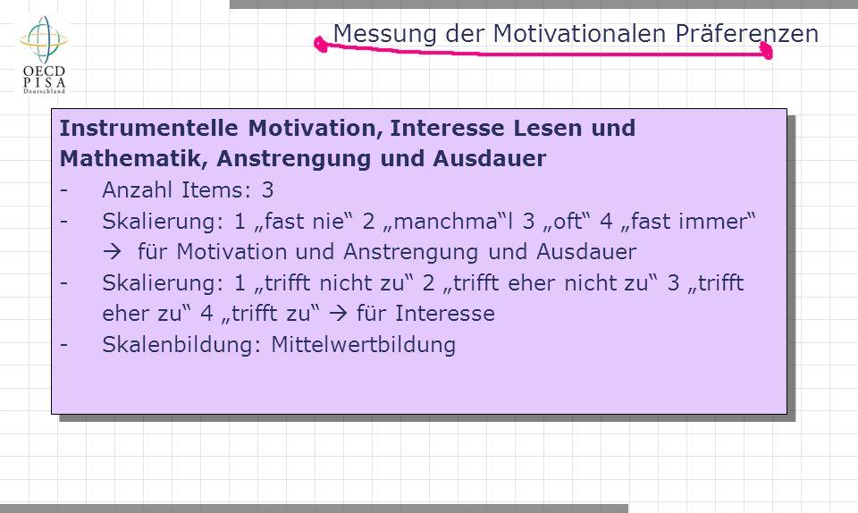 """Messung der Motivationalen Präferenzen Instrumentelle Motivation, Interesse Lesen und Mathematik, Anstrengung und Ausdauer -Anzahl Items: 3 -Skalierung: 1 """"fast nie 2 """"manchma l 3 """"oft 4 """"fast immer  für Motivation und Anstrengung und Ausdauer -Skalierung: 1 """"trifft nicht zu 2 """"trifft eher nicht zu 3 """"trifft eher zu 4 """"trifft zu  für Interesse -Skalenbildung: Mittelwertbildung Instrumentelle Motivation, Interesse Lesen und Mathematik, Anstrengung und Ausdauer -Anzahl Items: 3 -Skalierung: 1 """"fast nie 2 """"manchma l 3 """"oft 4 """"fast immer  für Motivation und Anstrengung und Ausdauer -Skalierung: 1 """"trifft nicht zu 2 """"trifft eher nicht zu 3 """"trifft eher zu 4 """"trifft zu  für Interesse -Skalenbildung: Mittelwertbildung"""
