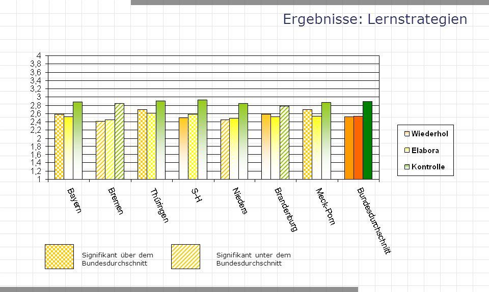 Ergebnisse: Lernstrategien Signifikant über dem Bundesdurchschnitt Signifikant unter dem Bundesdurchschnitt