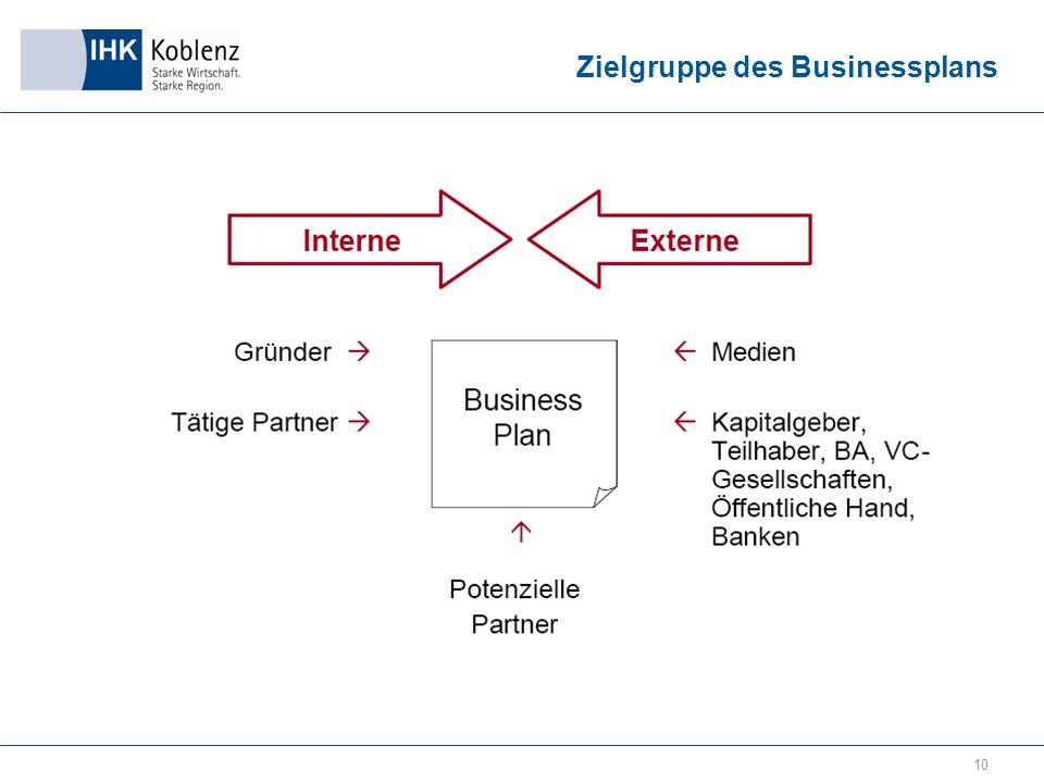 10 Zielgruppe des Businessplans