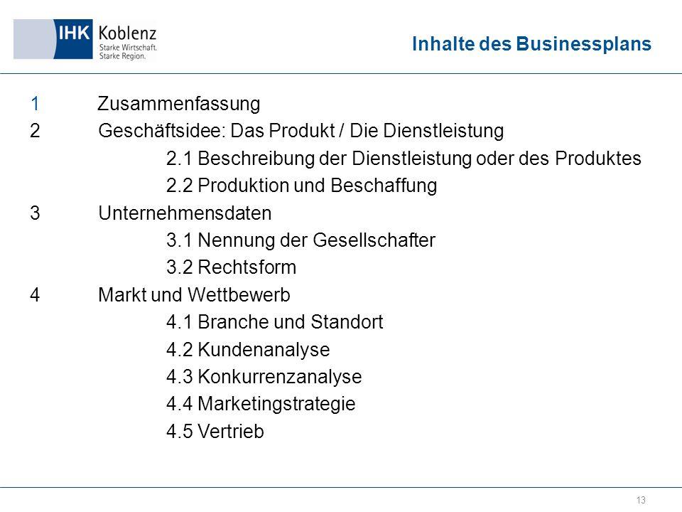 Inhalte des Businessplans 1 Zusammenfassung 2Geschäftsidee: Das Produkt / Die Dienstleistung 2.1 Beschreibung der Dienstleistung oder des Produktes 2.2 Produktion und Beschaffung 3Unternehmensdaten 3.1 Nennung der Gesellschafter 3.2 Rechtsform 4Markt und Wettbewerb 4.1 Branche und Standort 4.2 Kundenanalyse 4.3 Konkurrenzanalyse 4.4 Marketingstrategie 4.5 Vertrieb 13