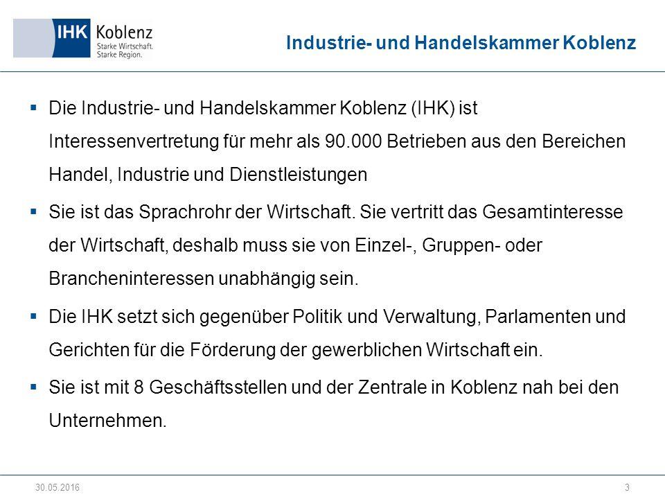 Industrie- und Handelskammer Koblenz  Die Industrie- und Handelskammer Koblenz (IHK) ist Interessenvertretung für mehr als 90.000 Betrieben aus den Bereichen Handel, Industrie und Dienstleistungen  Sie ist das Sprachrohr der Wirtschaft.