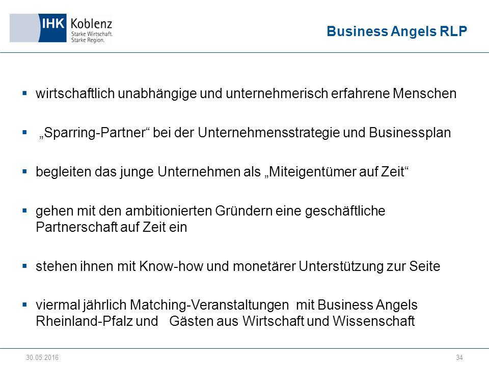 """Business Angels RLP  wirtschaftlich unabhängige und unternehmerisch erfahrene Menschen  """"Sparring-Partner bei der Unternehmensstrategie und Businessplan  begleiten das junge Unternehmen als """"Miteigentümer auf Zeit  gehen mit den ambitionierten Gründern eine geschäftliche Partnerschaft auf Zeit ein  stehen ihnen mit Know-how und monetärer Unterstützung zur Seite  viermal jährlich Matching-Veranstaltungen mit Business Angels Rheinland-Pfalz und Gästen aus Wirtschaft und Wissenschaft 30.05.201634"""