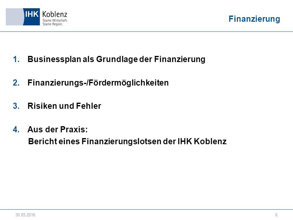 Finanzierung 1.Businessplan als Grundlage der Finanzierung 2.Finanzierungs-/Fördermöglichkeiten 3.Risiken und Fehler 4.Aus der Praxis: Bericht eines Finanzierungslotsen der IHK Koblenz 30.05.20166