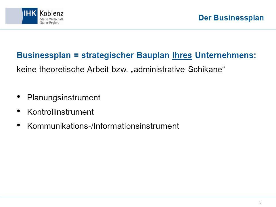 9 Businessplan = strategischer Bauplan Ihres Unternehmens: keine theoretische Arbeit bzw.