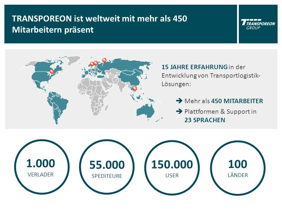 TRANSPOREON ist weltweit mit mehr als 450 Mitarbeitern präsent 1.000 VERLADER 55.000 SPEDITEURE 150.000 USER 15 JAHRE ERFAHRUNG in der Entwicklung von Transportlogistik- Lösungen:  Mehr als 450 MITARBEITER  Plattformen & Support in 23 SPRACHEN 100 LÄNDER