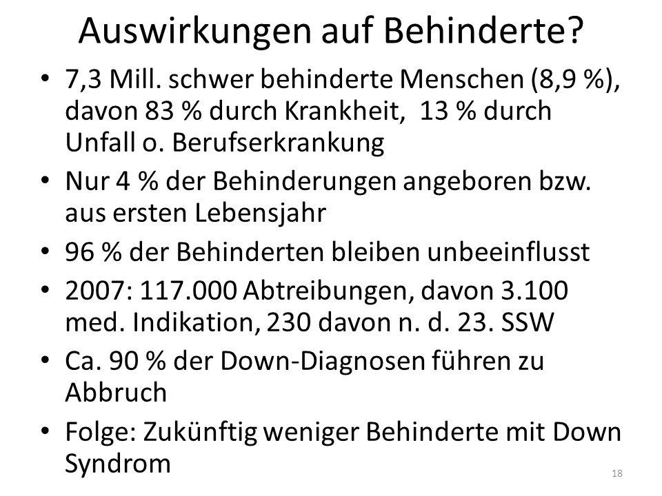 Auswirkungen auf Behinderte. 7,3 Mill.