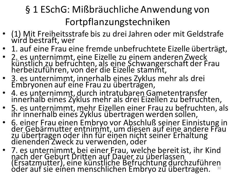 § 1 ESchG: Mißbräuchliche Anwendung von Fortpflanzungstechniken (1) Mit Freiheitsstrafe bis zu drei Jahren oder mit Geldstrafe wird bestraft, wer 1.