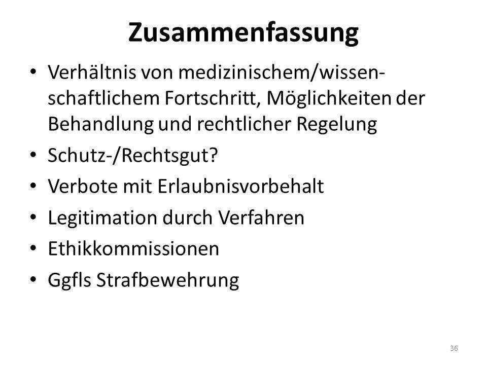 Zusammenfassung Verhältnis von medizinischem/wissen- schaftlichem Fortschritt, Möglichkeiten der Behandlung und rechtlicher Regelung Schutz-/Rechtsgut.