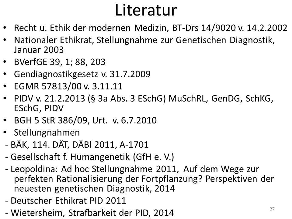 Literatur Recht u. Ethik der modernen Medizin, BT-Drs 14/9020 v.