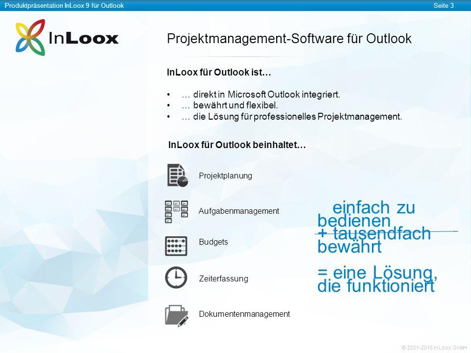 Produktpräsentation InLoox 9 für OutlookSeite 4 © 2001-2016 InLoox GmbH InLoox erweitert Microsoft Outlook InLoox ist in Microsoft Outlook stets mit einem Klick erreichbar.