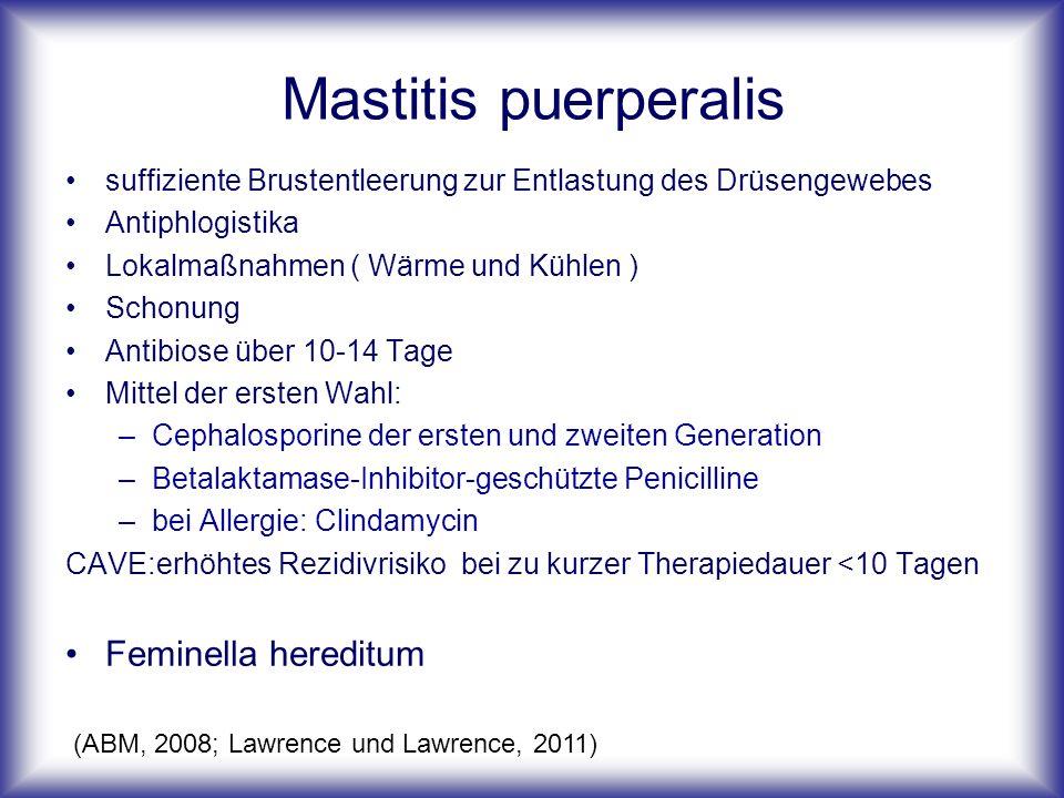 Mastitis puerperalis suffiziente Brustentleerung zur Entlastung des Drüsengewebes Antiphlogistika Lokalmaßnahmen ( Wärme und Kühlen ) Schonung Antibiose über 10-14 Tage Mittel der ersten Wahl: –Cephalosporine der ersten und zweiten Generation –Betalaktamase-Inhibitor-geschützte Penicilline –bei Allergie: Clindamycin CAVE:erhöhtes Rezidivrisiko bei zu kurzer Therapiedauer <10 Tagen Feminella hereditum (ABM, 2008; Lawrence und Lawrence, 2011)