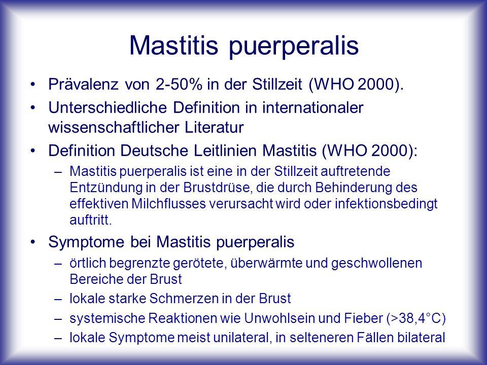 Mastitis puerperalis Prävalenz von 2-50% in der Stillzeit (WHO 2000).