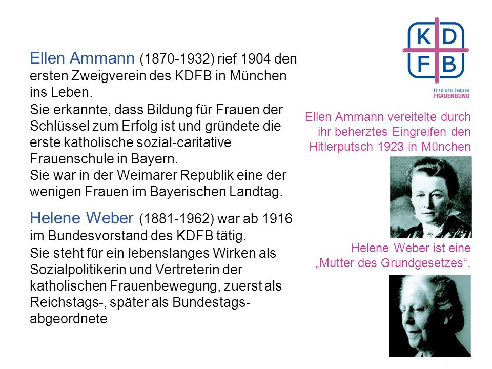 Seit 100 Jahren engagiert für Frauen Hedwig Dransfeld initiierte den Bau der Frauenfriedenskirche in Frankfurt a. M. Als katholischer Teil der Frauenb