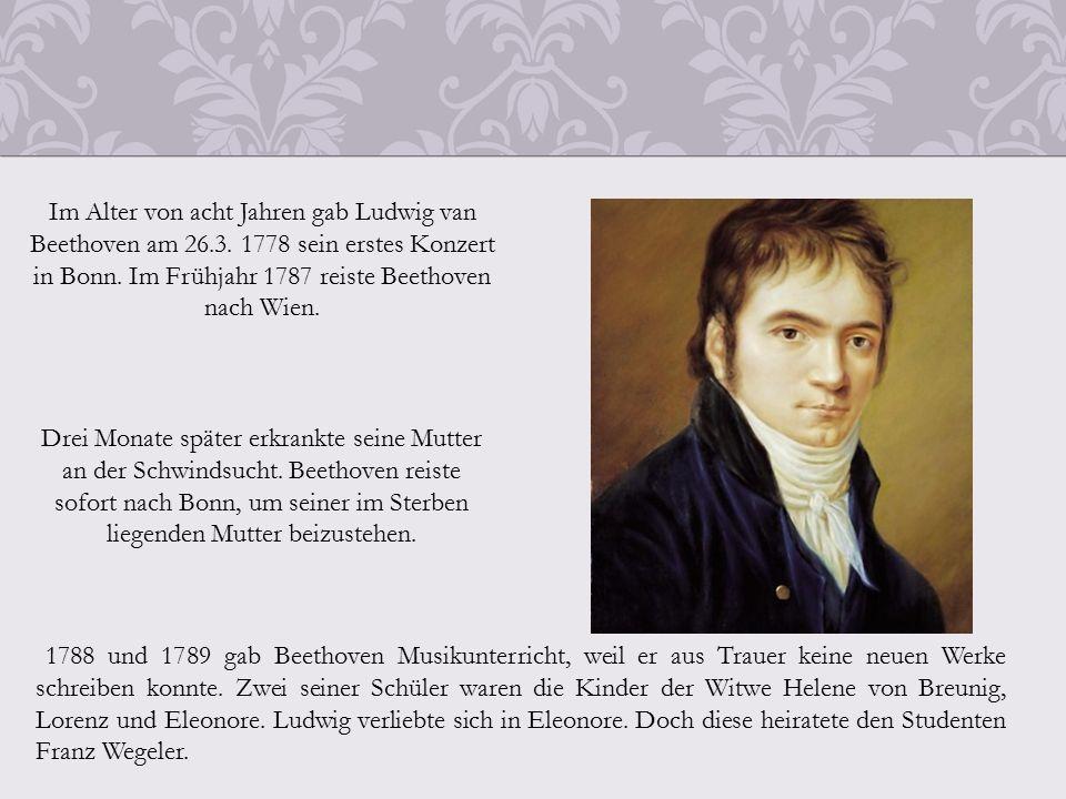 Im Alter von acht Jahren gab Ludwig van Beethoven am 26.3.