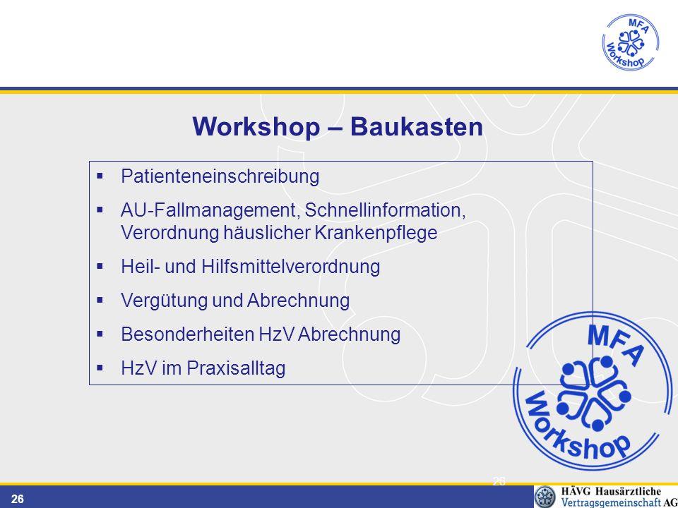 26 Workshop – Baukasten  Patienteneinschreibung  AU-Fallmanagement, Schnellinformation, Verordnung häuslicher Krankenpflege  Heil- und Hilfsmittelverordnung  Vergütung und Abrechnung  Besonderheiten HzV Abrechnung  HzV im Praxisalltag