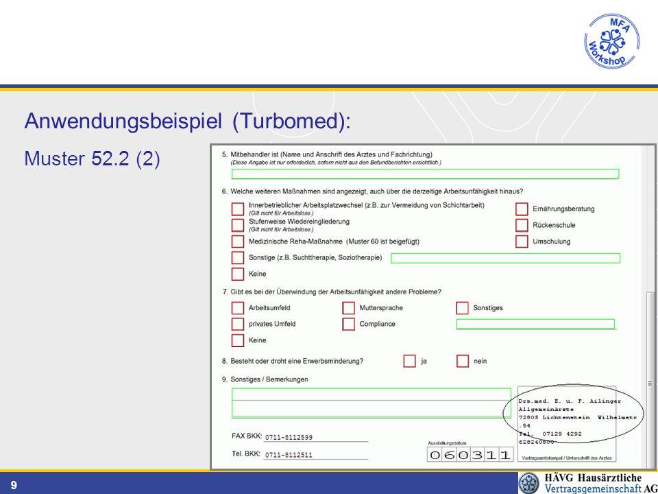 9 Anwendungsbeispiel (Turbomed): Muster 52.2 (2)