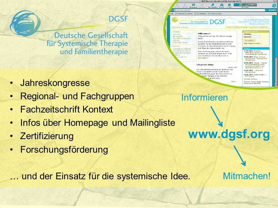 www.dgsf.org Informieren Mitmachen! Jahreskongresse Regional- und Fachgruppen Fachzeitschrift Kontext Infos über Homepage und Mailingliste Zertifizier
