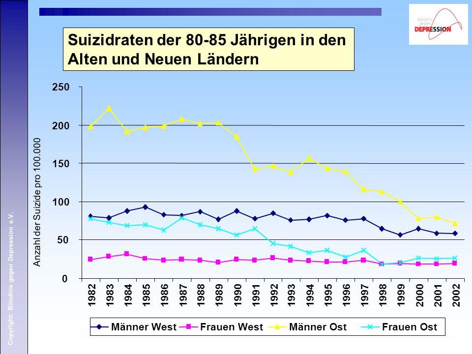 Copyright: Bündnis gegen Depression e.V. Suizidraten der 80-85 Jährigen in den Alten und Neuen Ländern Anzahl der Suizide pro 100.000