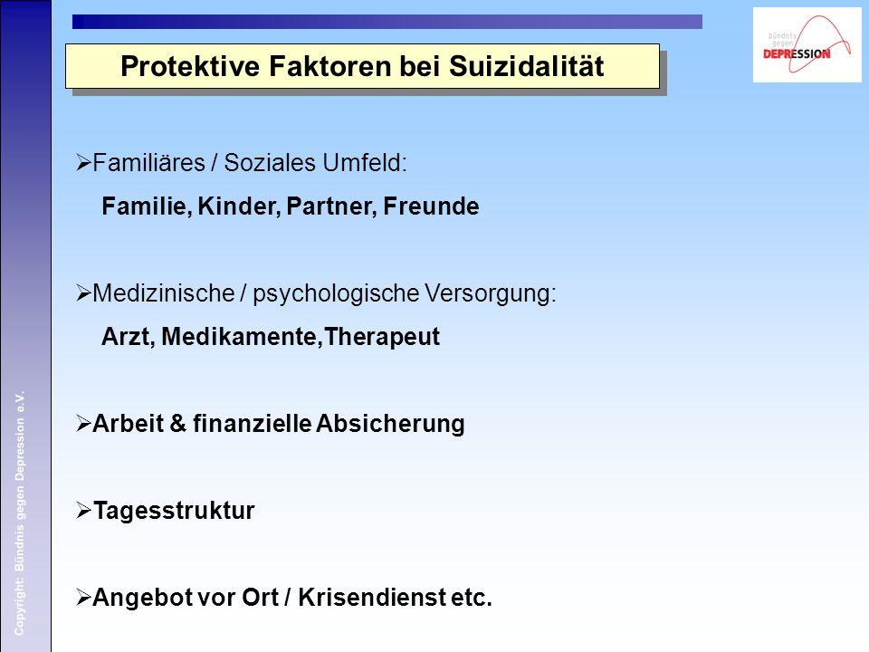 Copyright: Bündnis gegen Depression e.V. Protektive Faktoren bei Suizidalität  Familiäres / Soziales Umfeld: Familie, Kinder, Partner, Freunde  Medi