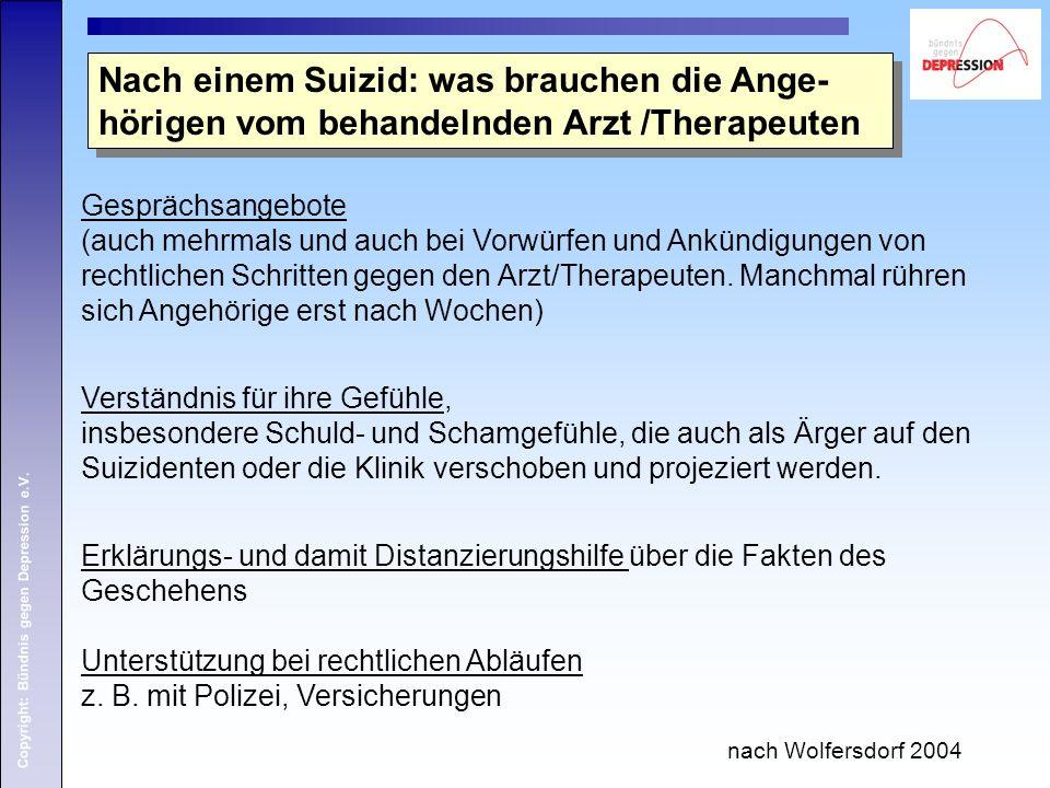 Copyright: Bündnis gegen Depression e.V. Nach einem Suizid: was brauchen die Ange- hörigen vom behandelnden Arzt /Therapeuten Gesprächsangebote (auch