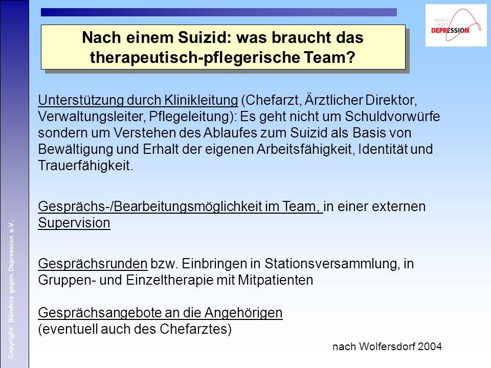 Copyright: Bündnis gegen Depression e.V. Nach einem Suizid: was braucht das therapeutisch-pflegerische Team? Unterstützung durch Klinikleitung (Chefar