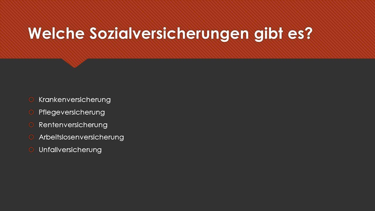 """Krankenversicherung  Träger der Krankenversicherung:  """"gesetzliche Krankenkassen : AOK, IKK, Ersatzkassen, BKK  Beitrag zur Krankenversicherung (Stand 2016)  Beitrag: mind."""