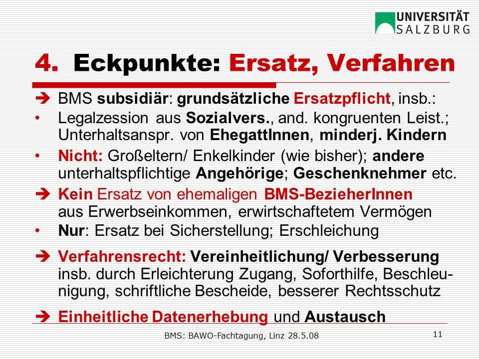 BMS: BAWO-Fachtagung, Linz 28.5.08 11 4.Eckpunkte: Ersatz, Verfahren  BMS subsidiär: grundsätzliche Ersatzpflicht, insb.: Legalzession aus Sozialvers., and.