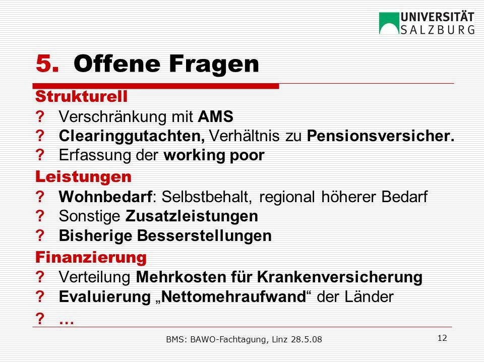 BMS: BAWO-Fachtagung, Linz 28.5.08 12 5.Offene Fragen Strukturell ?Verschränkung mit AMS ? Clearinggutachten, Verhältnis zu Pensionsversicher. ?Erfass
