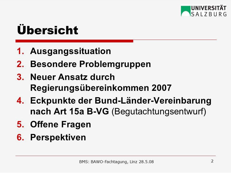 BMS: BAWO-Fachtagung, Linz 28.5.08 3 1.Ausgangssituation  (Bedrohung durch) Armut, soziale Ausschließung steigen trotz Wirtschaftswachstums auch in Österreich  Sozialpolitik (nicht nur) in Österreich nicht (vorrangig) auf Vermeidung/ Bekämpfung von Armut/ sozialer Ausschließung ausgerichtet  Schwerpunkt im Versicherungsprinzip: Erwerbs-/ Beitragszentriertheit: Spannungsverhältnis zu Armuts- bekämpfung (stärkere Betonung der Äquivalenz)  Sozialhilfe von Strukturen und Rahmenbedingungen (Subsidiarität' Kostenersatz, Stigmatisierung, Zugang, Co-Finanzierung durch Gemeinden …) ungeeignet  Systeme greifen häufig nicht ineinander