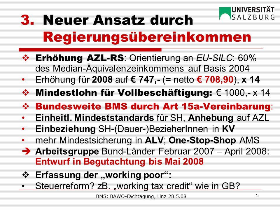 BMS: BAWO-Fachtagung, Linz 28.5.08 5 3.Neuer Ansatz durch Regierungsübereinkommen  Erhöhung AZL-RS : Orientierung an EU-SILC: 60% des Median-Äquivalenzeinkommens auf Basis 2004 Erhöhung für 2008 auf € 747,- (= netto € 708,90), x 14  Mindestlohn für Vollbeschäftigung: € 1000,- x 14  Bundesweite BMS durch Art 15a-Vereinbarung : Einheitl.