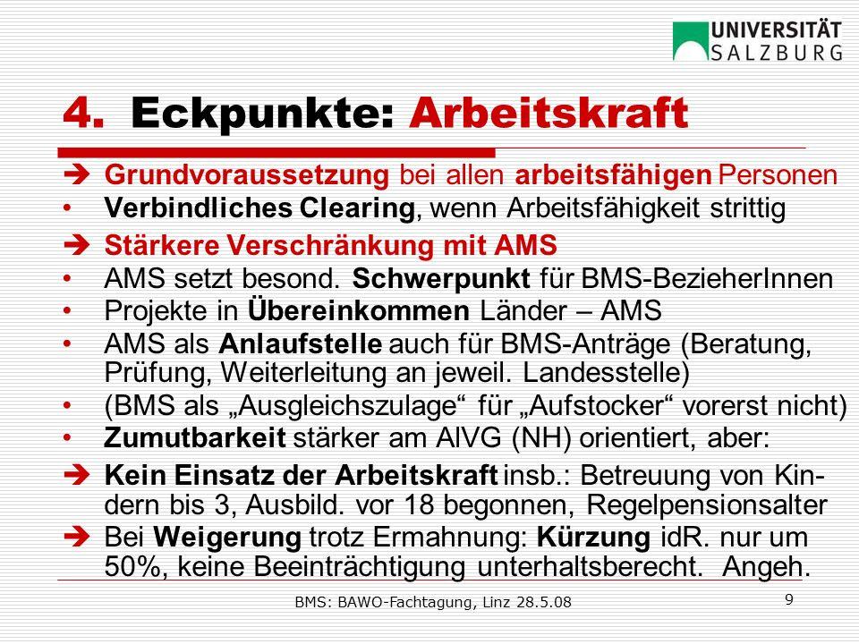 BMS: BAWO-Fachtagung, Linz 28.5.08 9 4.Eckpunkte: Arbeitskraft  Grundvoraussetzung bei allen arbeitsfähigen Personen Verbindliches Clearing, wenn Arbeitsfähigkeit strittig  Stärkere Verschränkung mit AMS AMS setzt besond.