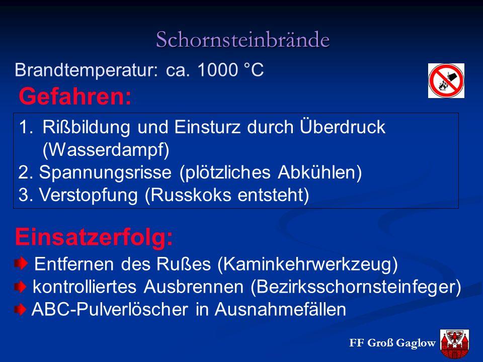 FF Groß Gaglow Schornsteinbrände Brandtemperatur: ca. 1000 °C 1.Rißbildung und Einsturz durch Überdruck (Wasserdampf) 2. Spannungsrisse (plötzliches A