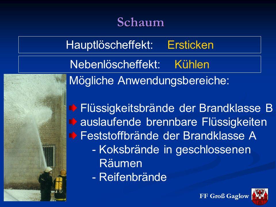 Schaum Hauptlöscheffekt: Ersticken Mögliche Anwendungsbereiche: Flüssigkeitsbrände der Brandklasse B auslaufende brennbare Flüssigkeiten Feststoffbrän
