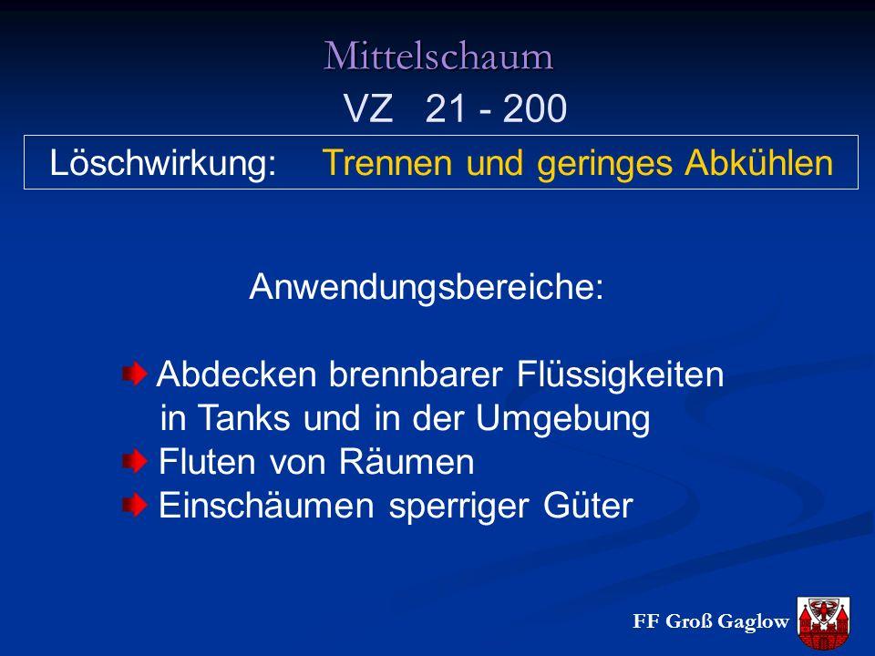 FF Groß GaglowMittelschaum Löschwirkung: Trennen und geringes Abkühlen Anwendungsbereiche: Abdecken brennbarer Flüssigkeiten in Tanks und in der Umgeb