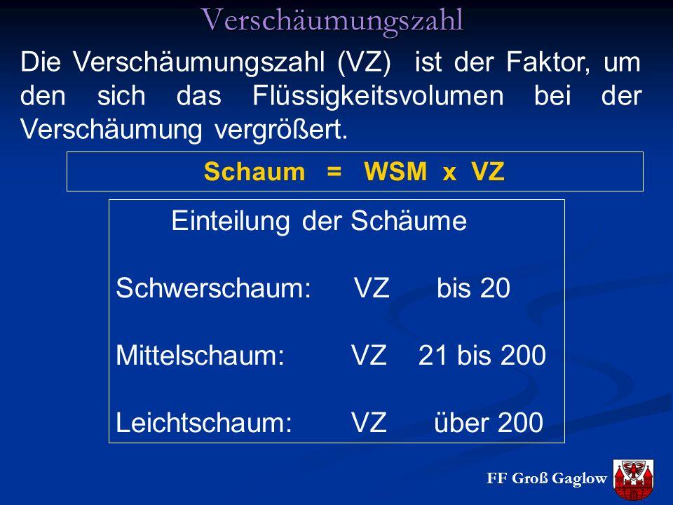 FF Groß Gaglow Verschäumungszahl Die Verschäumungszahl (VZ) ist der Faktor, um den sich das Flüssigkeitsvolumen bei der Verschäumung vergrößert.